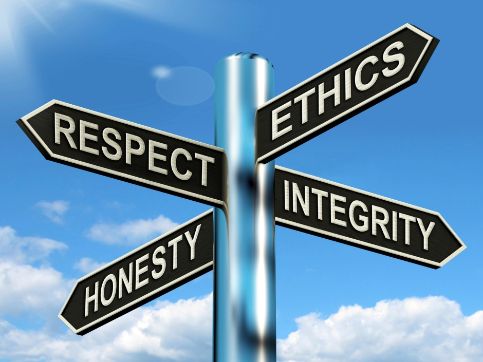 Respect Ethics Honest Integrity Signpost