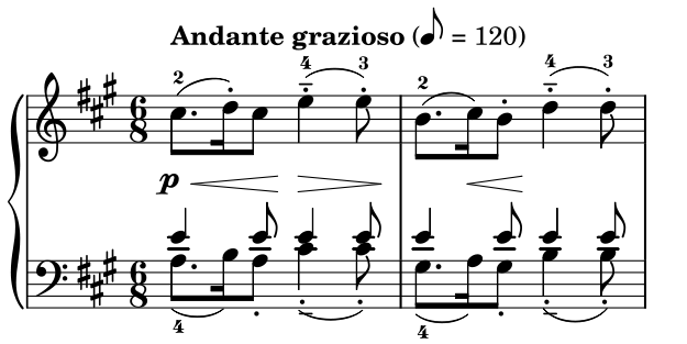 """Tempo Andante dari bagian I Sonata Mozart untuk piano KV331. Andante Grazioso berarti """"Bagai berjalan, dengan anggun"""" disertai kecepatan modern 60bpm yang dituliskan oleh editor partitur ini"""