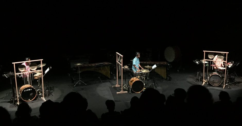 Trio Total Perkusi memainkan karya elektroakustik dan perkusi Cong Kee Yong