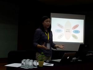"""Monica Subiantoro mempresentasikan papernya yang berjudul """"The Role of Music in Raising Disability Awareness in Bali"""" di IMPAC 2016"""